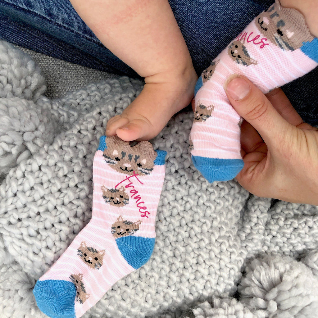 Personalised Cat Baby Socks, socks, - ALPHS