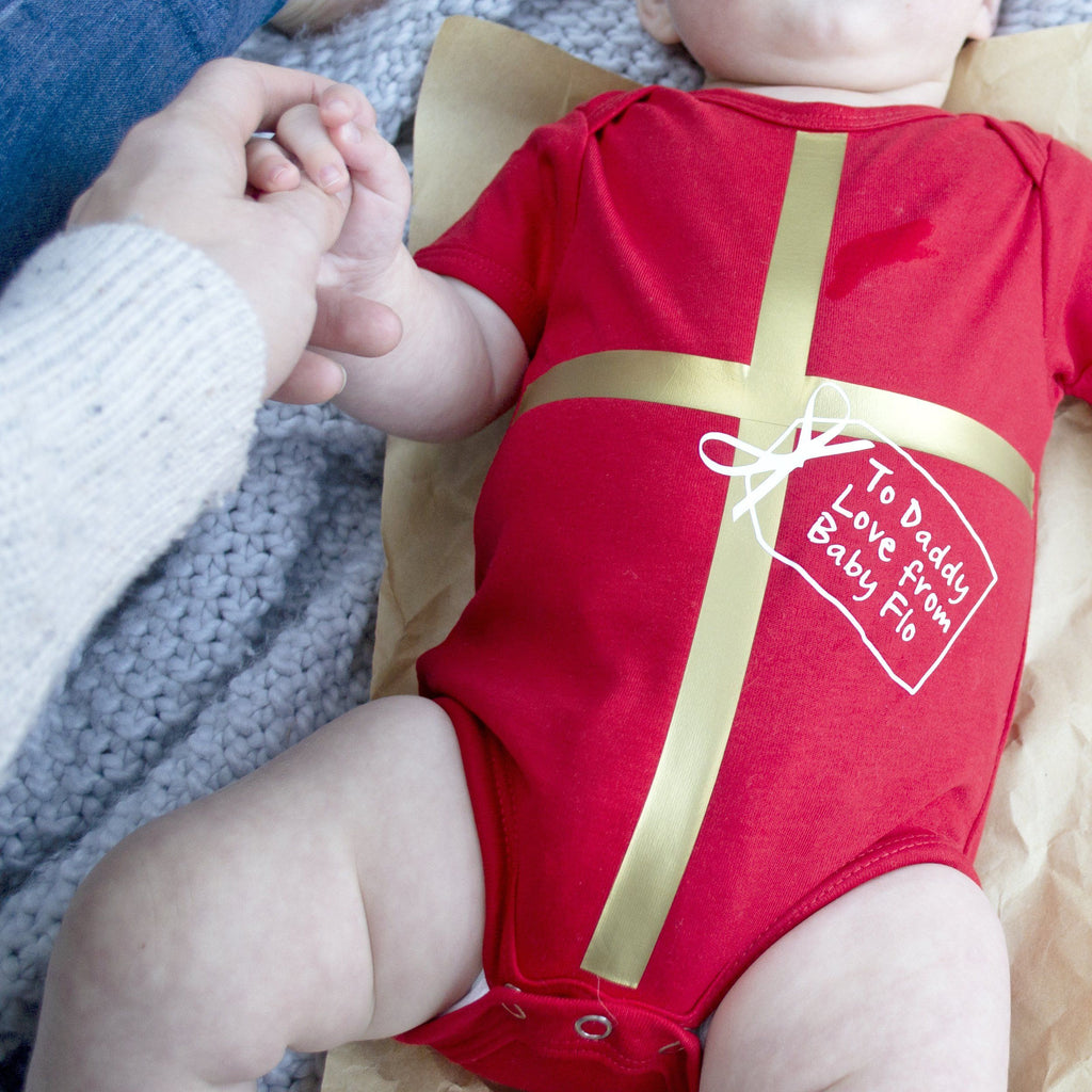 First Christmas All Wrapped Up Personalised Babygrow, Baby grow, - ALPHS
