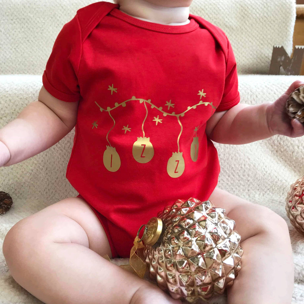 Personalised Baubles Babygrow, Baby grow, - ALPHS