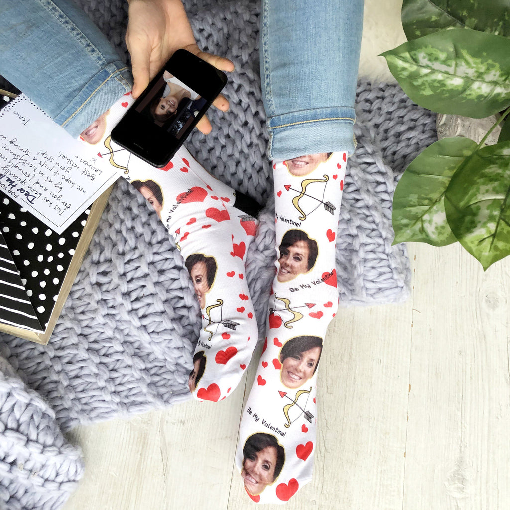 Personalised Be My Valentine Photo Socks, Photo Socks, - ALPHS