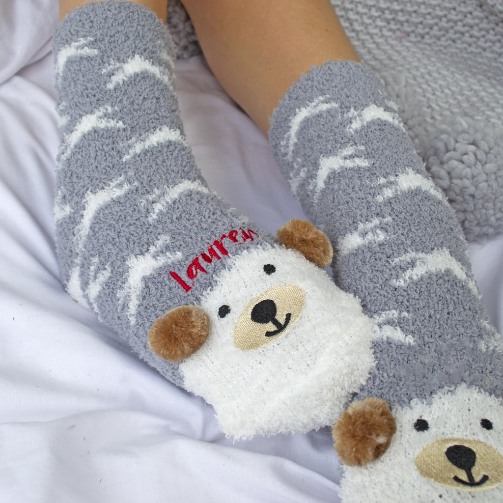 Embroidered Bear Face Cosy Socks, Socks, - ALPHS