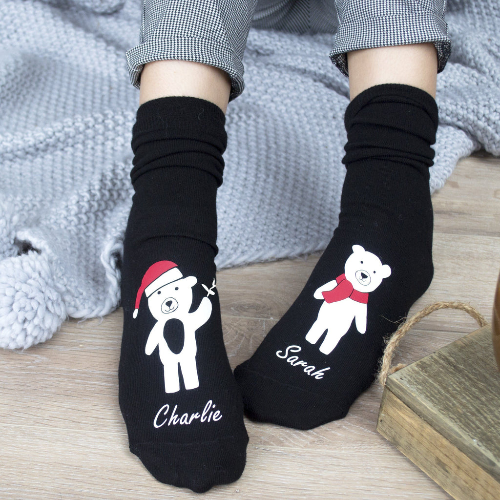 Personalised Bears And Mistletoe Socks, Socks, - ALPHS