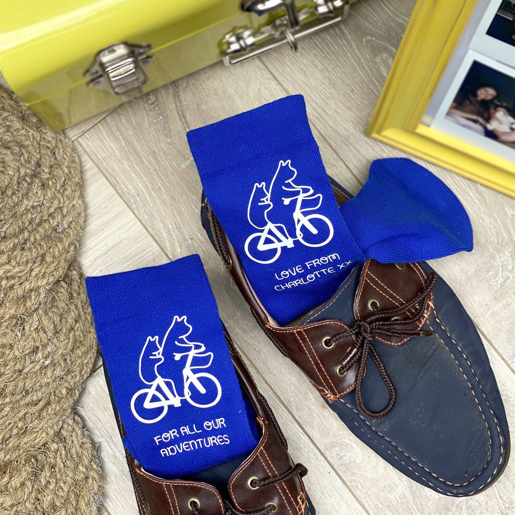 Bears On A Bike Personalised Father's Day Socks
