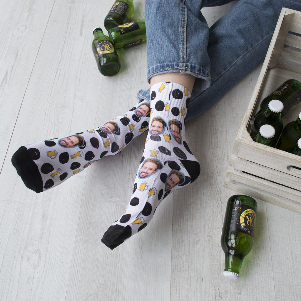 Personalised Beer Face Photo Socks, socks, - ALPHS