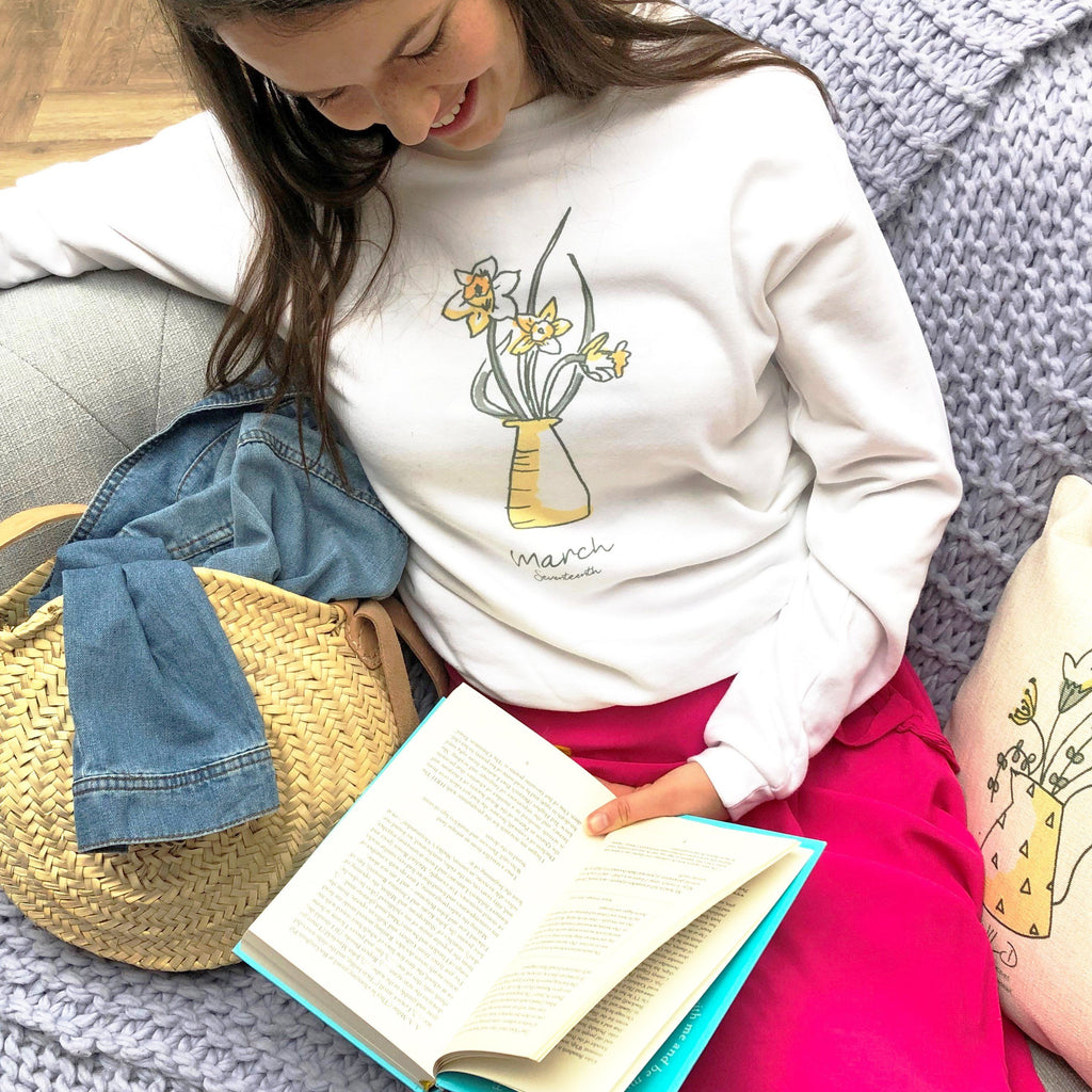 Birth Flower Personalised Slouch Sweatshirt, sweatshirt, - ALPHS