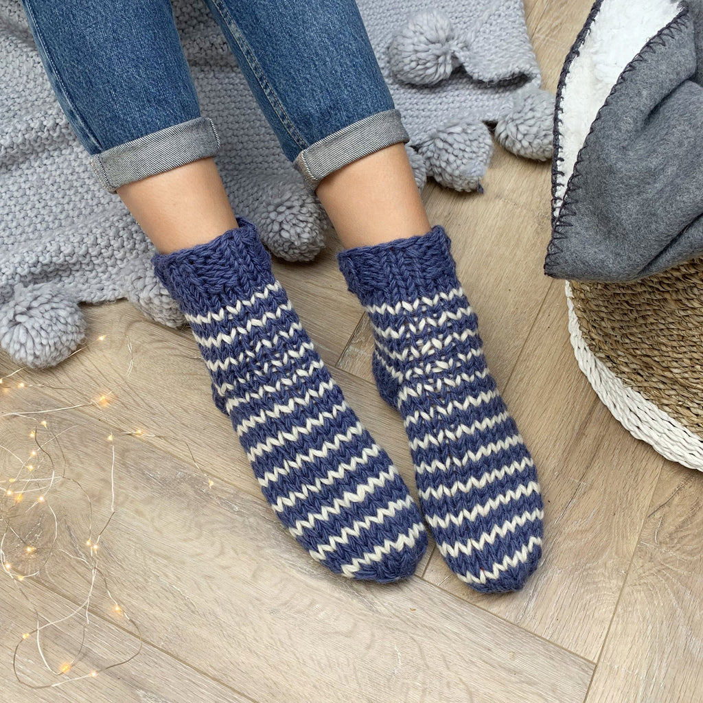 Personalised Hand Knitted Blue Stripe Wool Sofa Socks, , - ALPHS