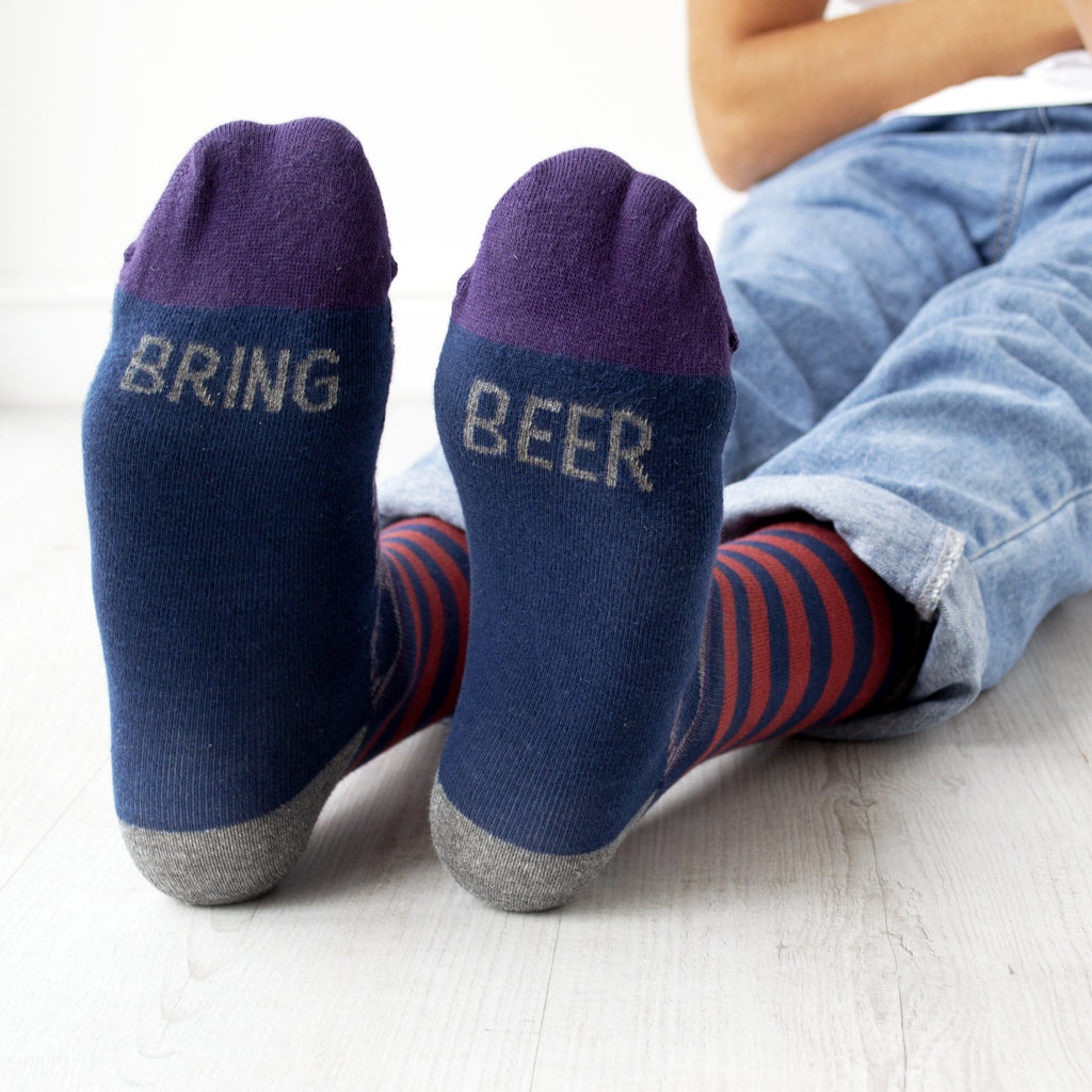Bring Beer Patterned Slogan Socks, Socks, - ALPHS