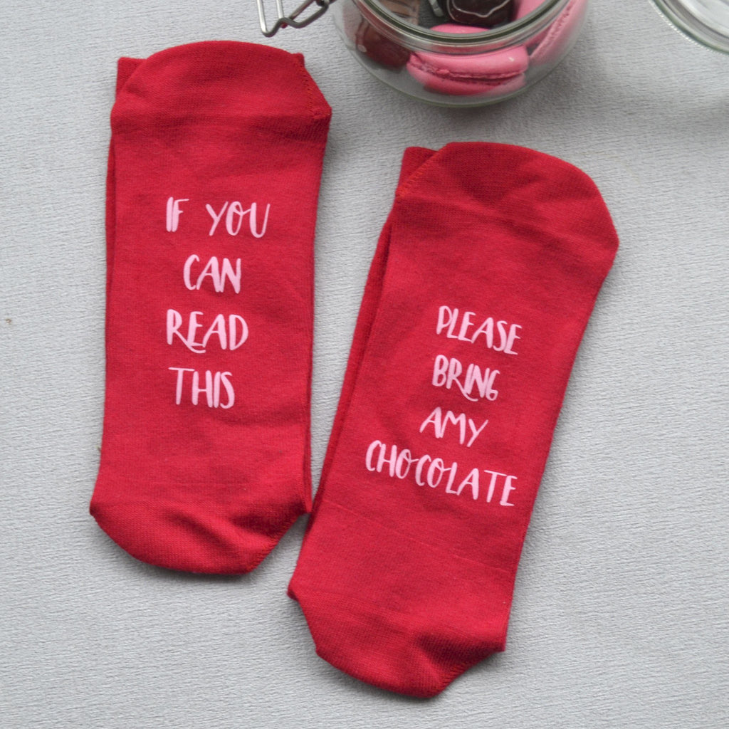 Personalised Gift Socks - Hidden Message Please Bring Chocolate, Socks,, - ALPHS