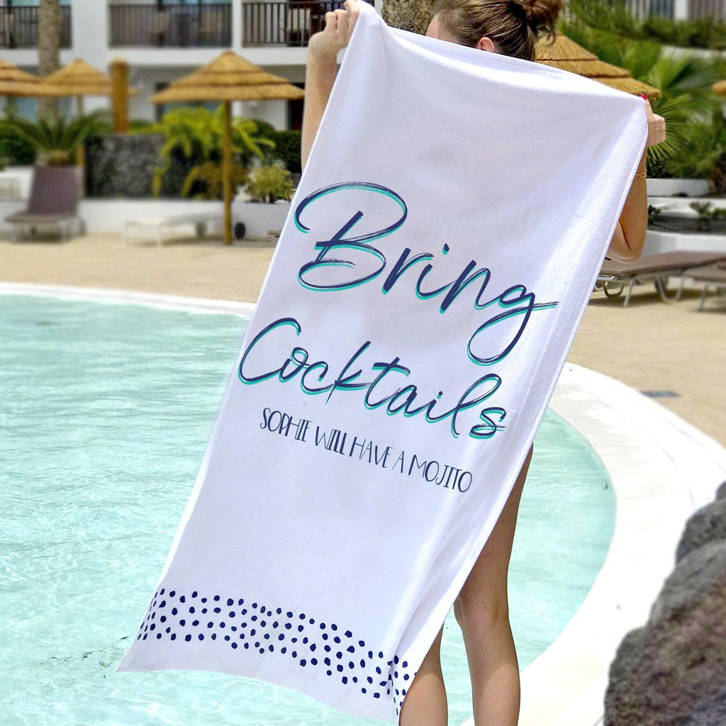 Personalised Bring Cocktails Beach Towel, Sport Towel, - ALPHS