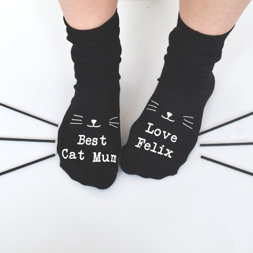 Best Cat Mum Personalised Socks, socks, - ALPHS