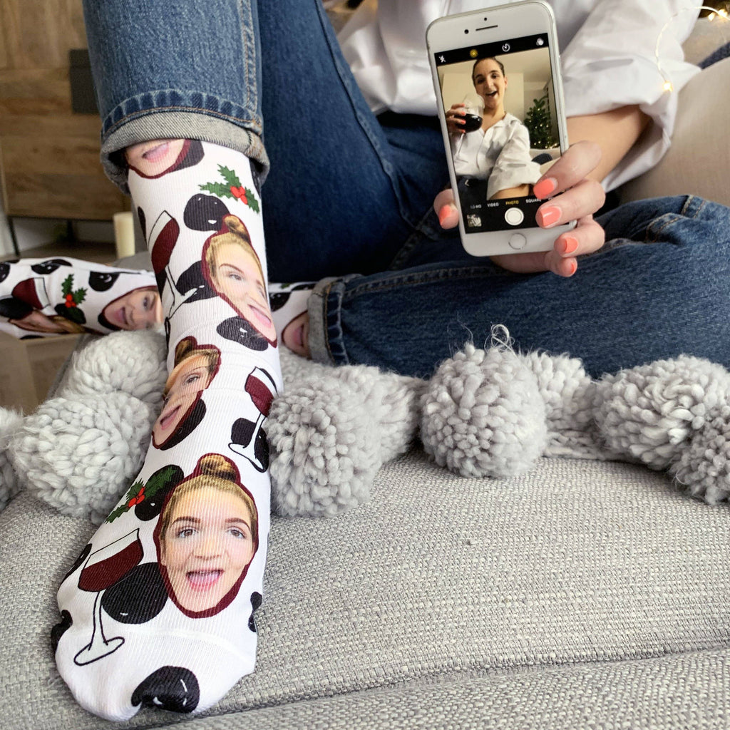 Personalised Christmas Cheer Photo Socks, Photo Socks, - ALPHS