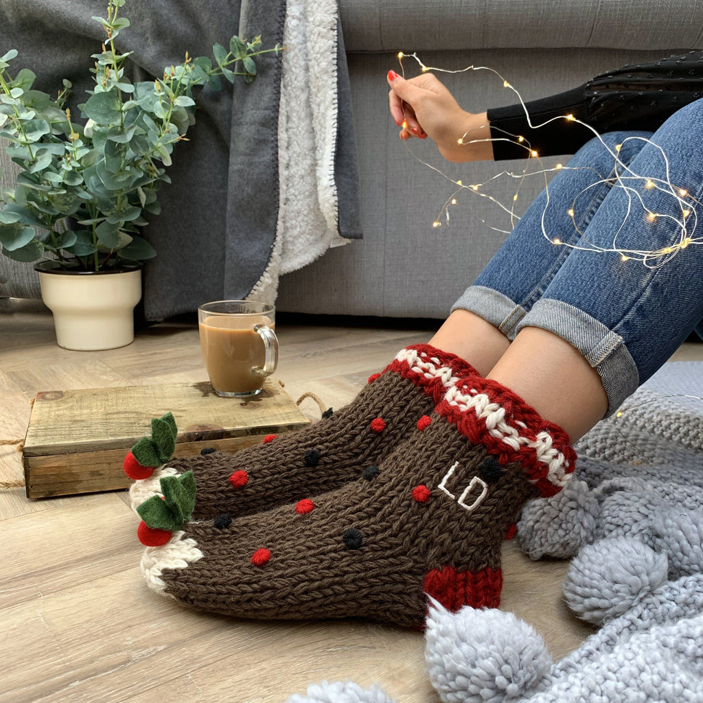 Personalised Embroidered Hand Knitted Christmas Pudding Socks