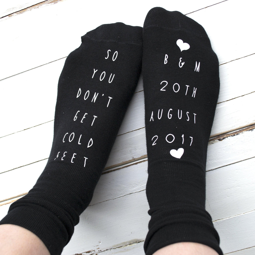 Personalised So You Don't Get Cold Feet Wedding Socks