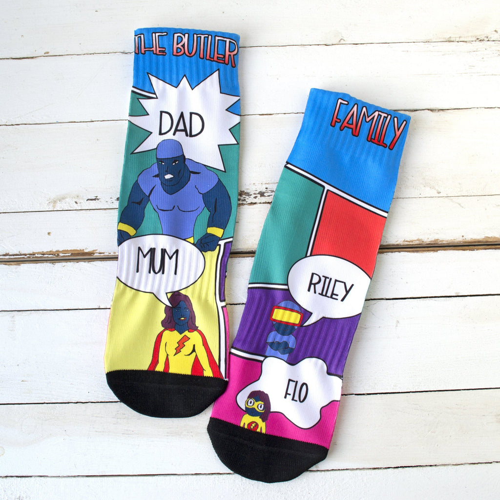 Comic Book Socks, Personalised Socks, - ALPHS