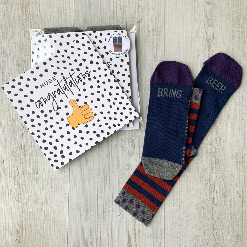 'Congratulations' Greetings Card with Men's Socks, Card Socks, - ALPHS
