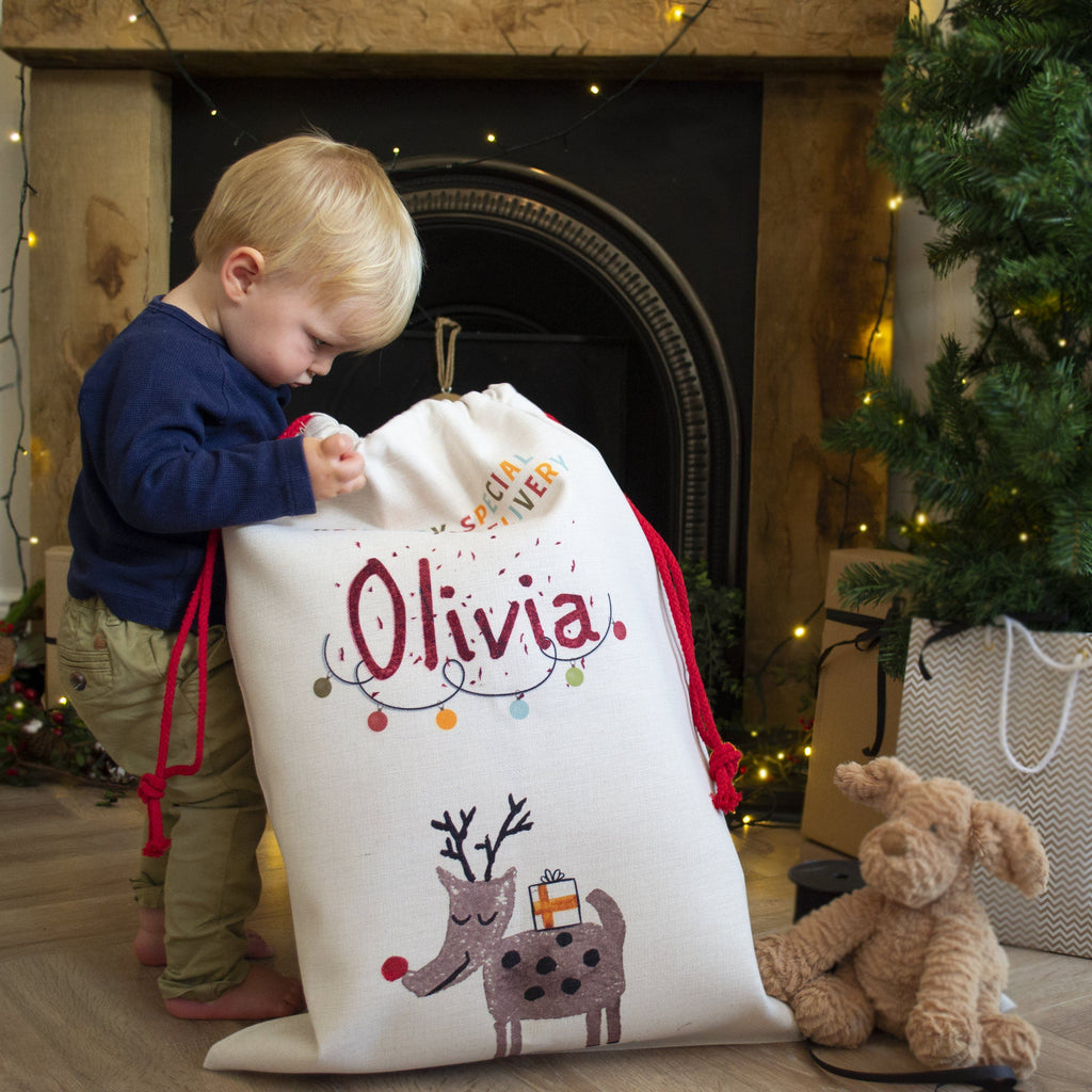Personalised Country Canvas Reindeer Sack, sacks, - ALPHS