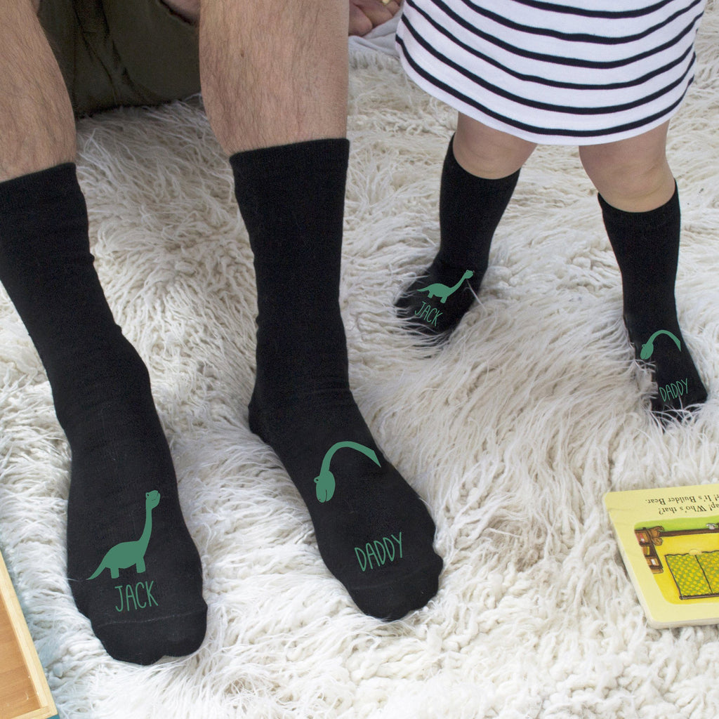 Personalised Daddy And Me Dinosaur Socks, Socks, - ALPHS