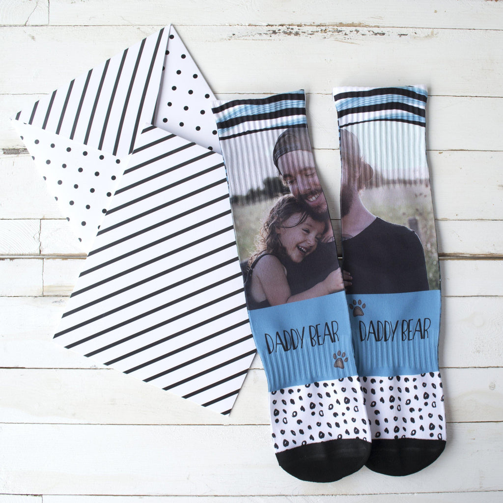 Personalised Daddy Bear Photo Socks, socks, - ALPHS