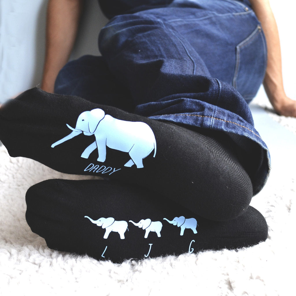 Personalised Daddy Elephant Socks, socks, - ALPHS