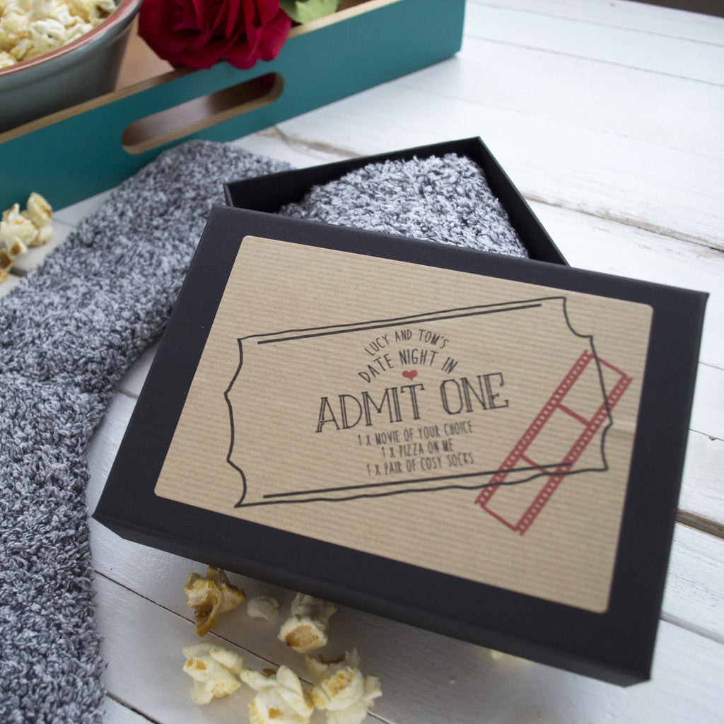 Personalised Date Night In Slipper Sock Gift Box, Gift Box, - ALPHS