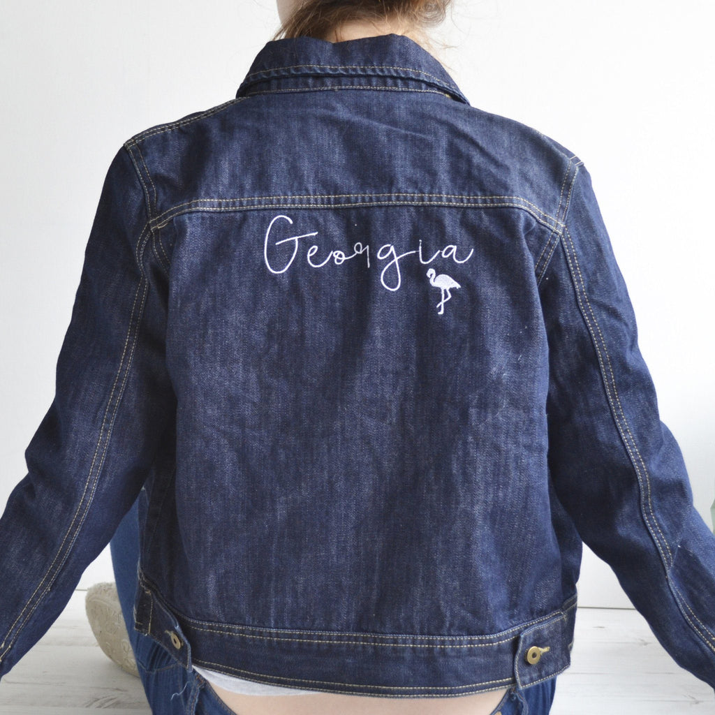 Personalised Gift - Sleeved Denim Jacket (Name on the Back), jacket, - ALPHS