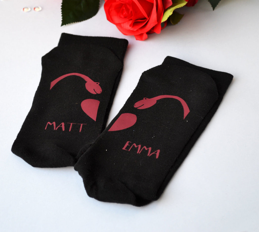 Dinosaurs In Love Personalised Socks, Socks, - ALPHS