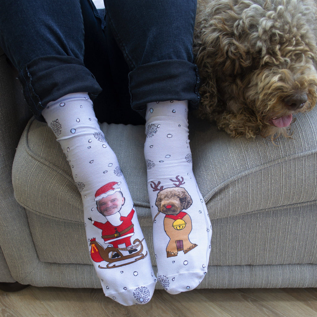 Personalised Dog And Owner Christmas Socks, Photo Socks, - ALPHS