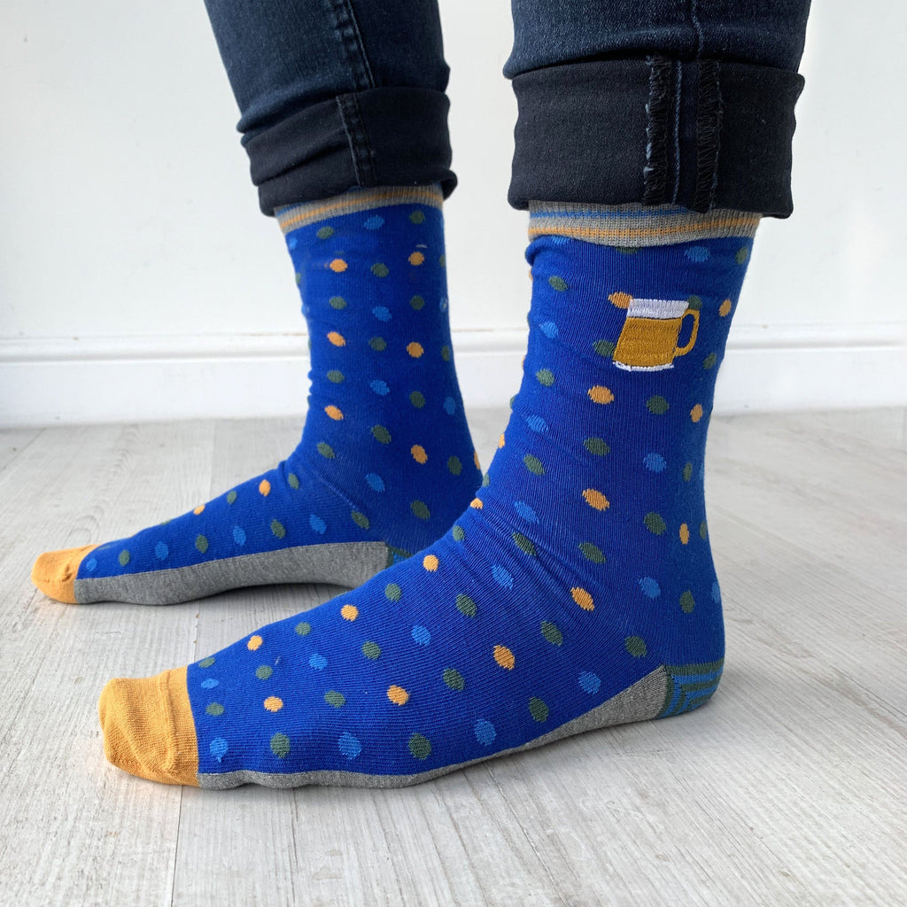 Patterned Embroidered Beer Socks, , - ALPHS