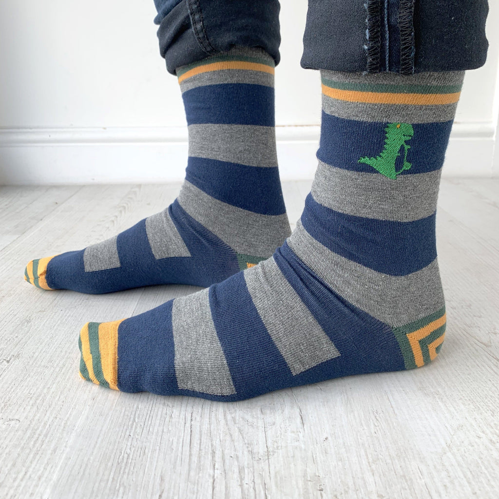 Patterned Embroidered Dinosaur Socks, , - ALPHS