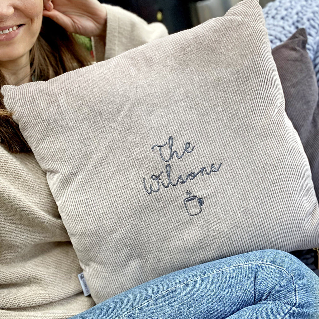 Embroidered Family Corduroy Cushion, Cushion, - ALPHS