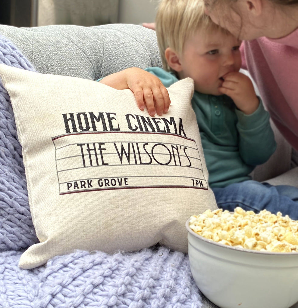 Personalised Home Cinema Family Cushion, Blanket, - ALPHS