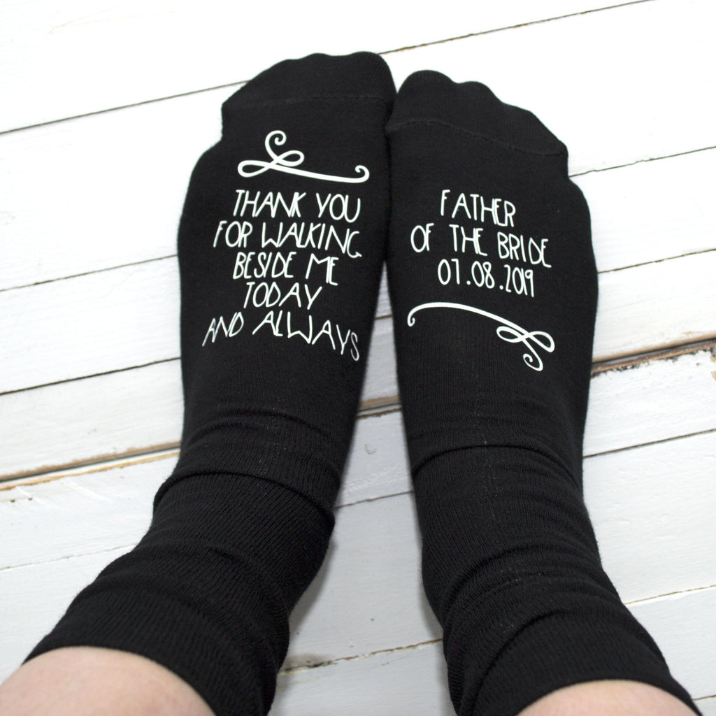 Walking Beside Me - Father of the Bride Personalised Wedding Socks