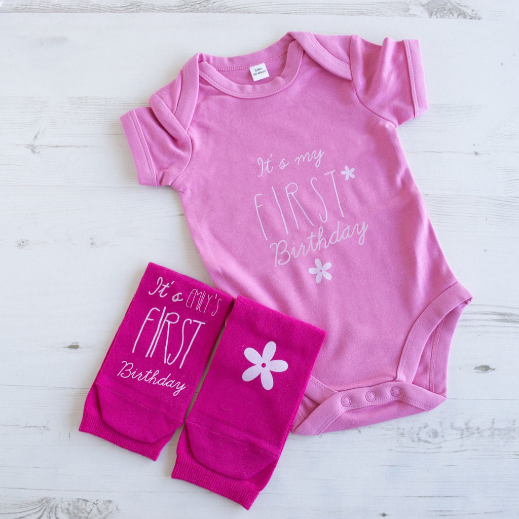 Personalised First Birthday For Me And You Gift Set, Baby grow, - ALPHS