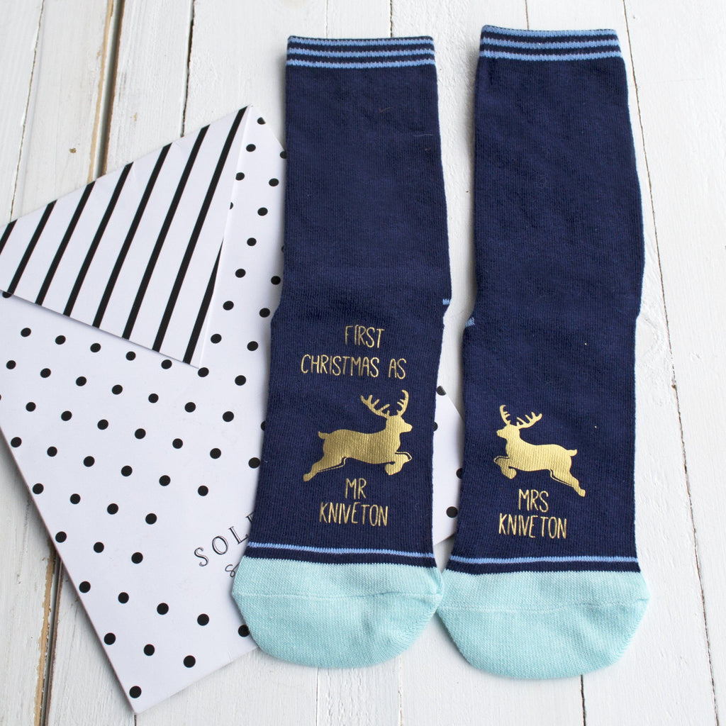 First Christmas as Mr and Mrs Striped Socks, Socks, - ALPHS
