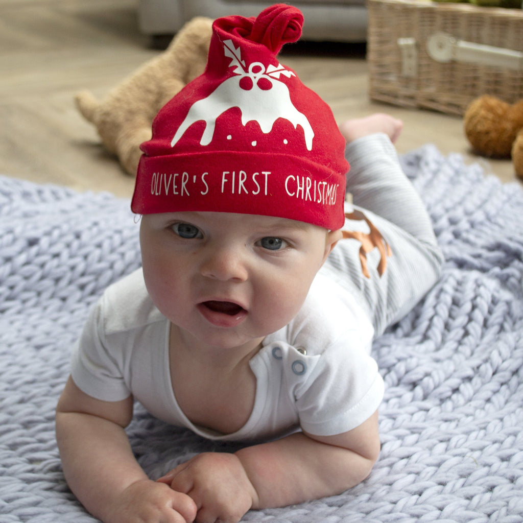Personalised First Christmas Baby Hat, Hats, - ALPHS