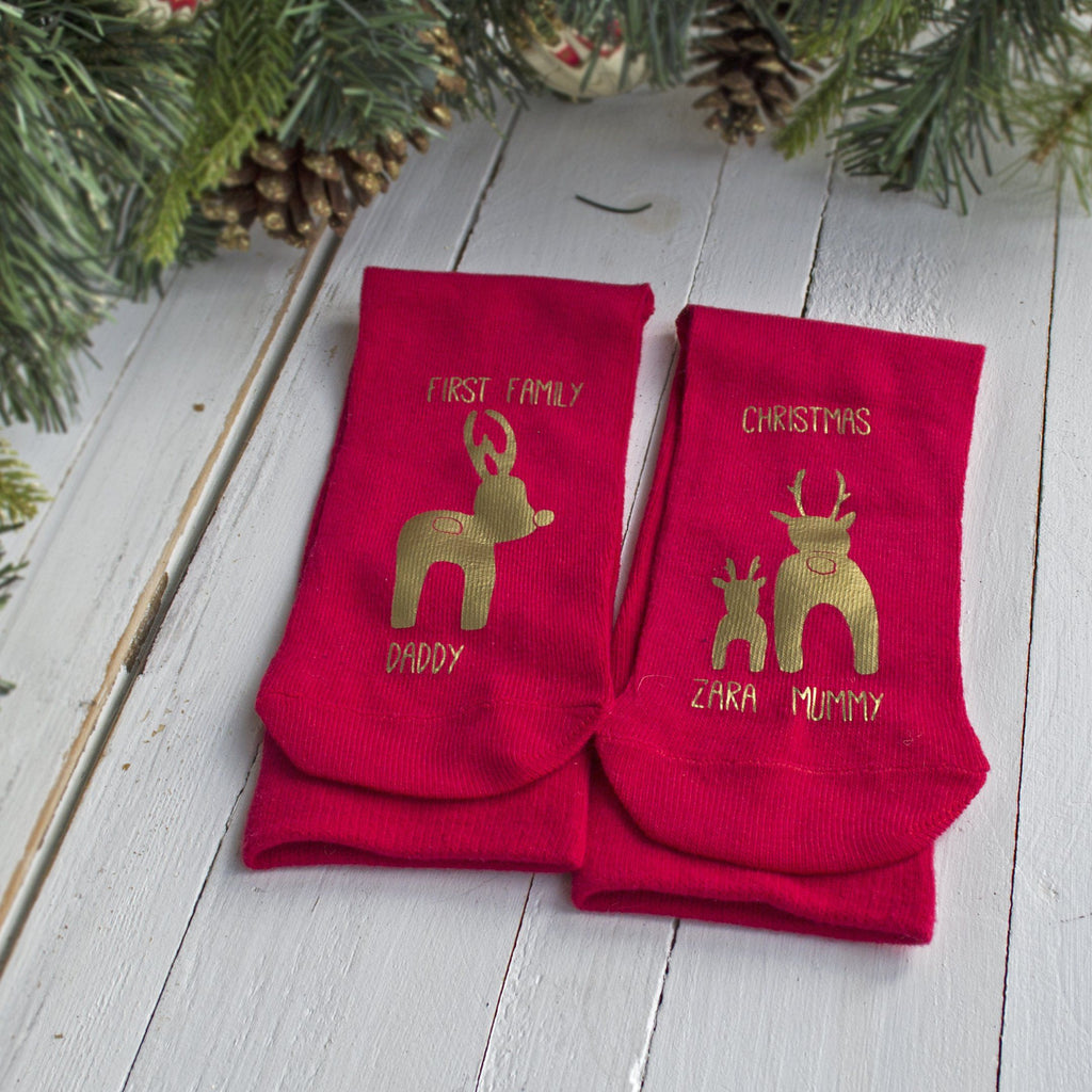 First Family Christmas Mummy and Daddy Reindeer, Socks, - ALPHS