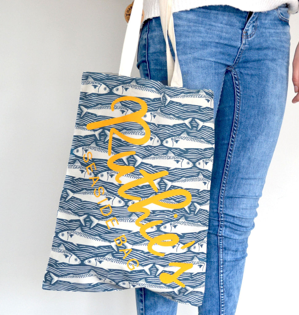 Personalised Fish Pattern Beach Bag, bag, - ALPHS