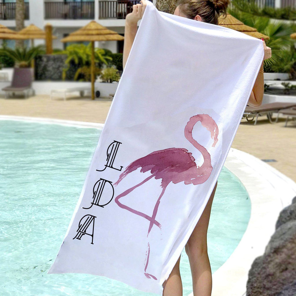 Personalised Flamingo Beach Towel, Beach Towel, - ALPHS