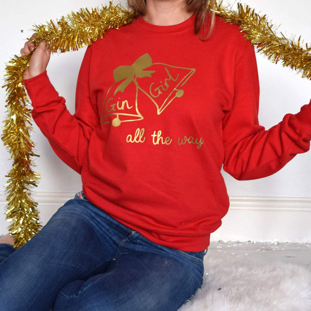 Gin Girl All The Way Personalised Christmas Jumper, Jumper, - ALPHS