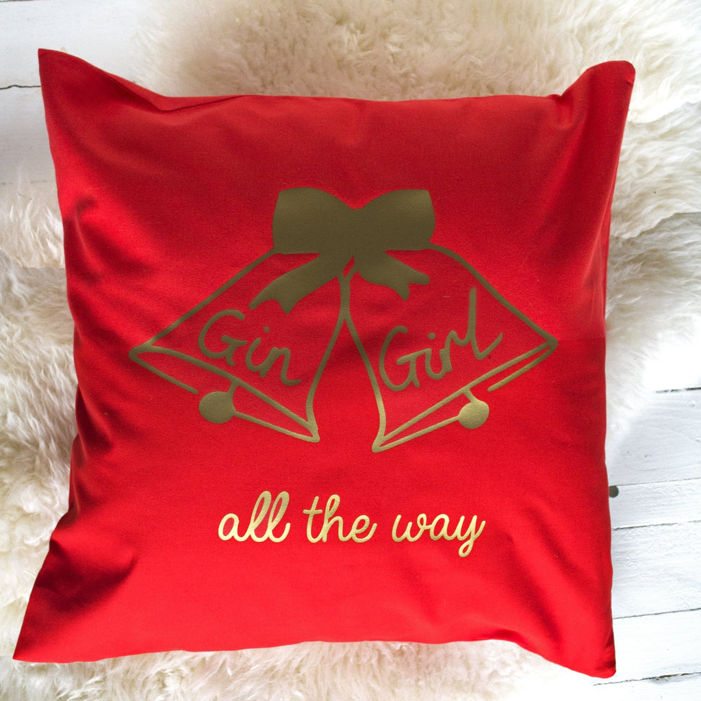 Gin Girl All The Way Personalised Christmas Cushion, cushion, - ALPHS