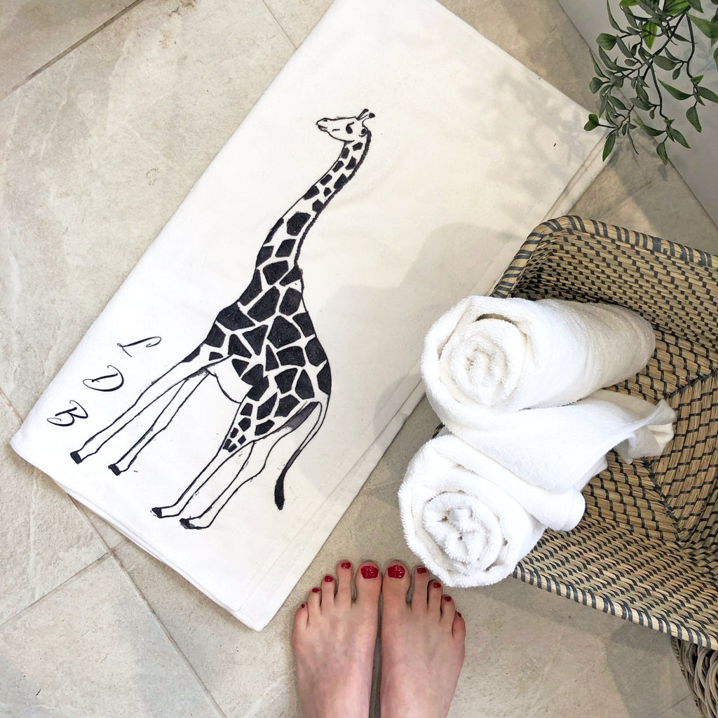Personalised Monogram Giraffe Towel, Bath Towel, - ALPHS