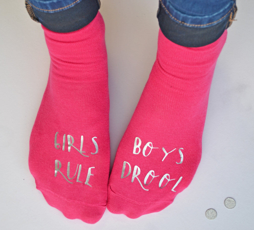 Personalised Gift Socks - Girls Rule - Valentines gift for a friend, Socks, - ALPHS