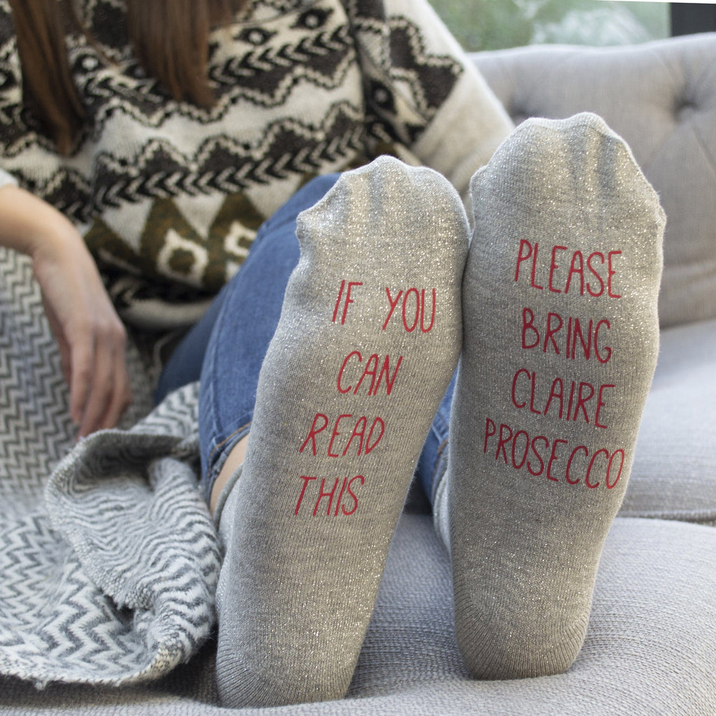 Personalised Glitter Gin Gift Socks, Socks, - ALPHS