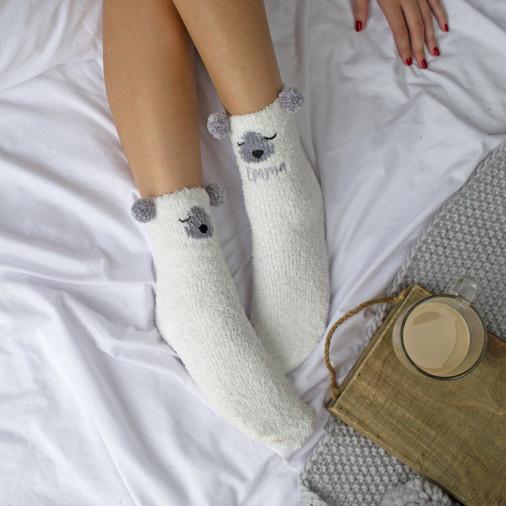 Embroidered Polar Bear Cosy Socks, Socks, - ALPHS
