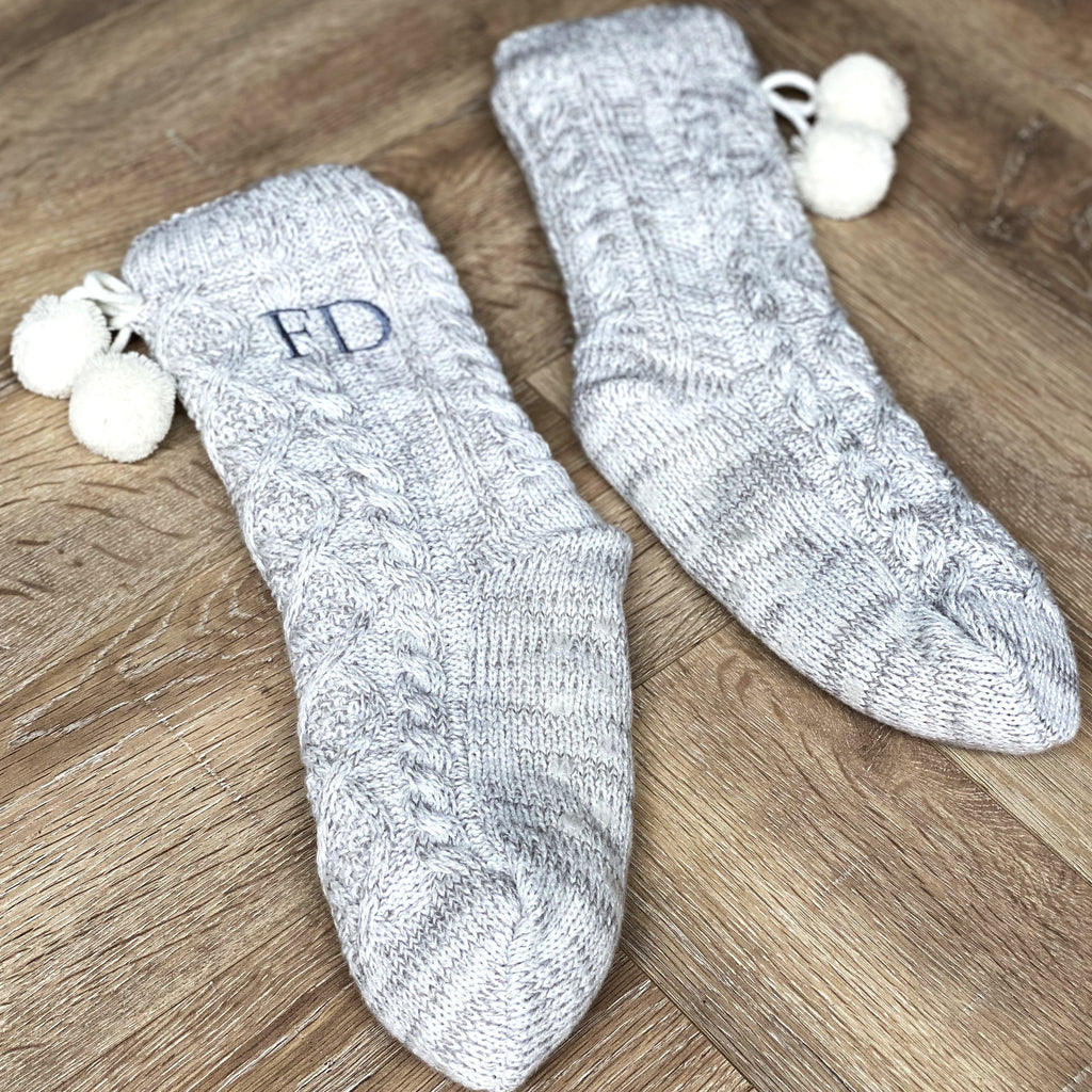 Personalised Grey Pom Pom Slippers