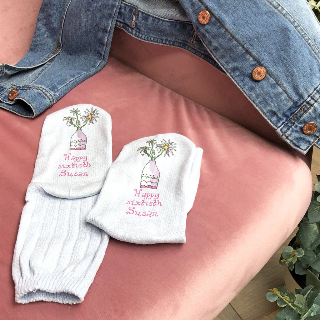 Women's Birth Flower Snug Socks, Photo Socks, - ALPHS