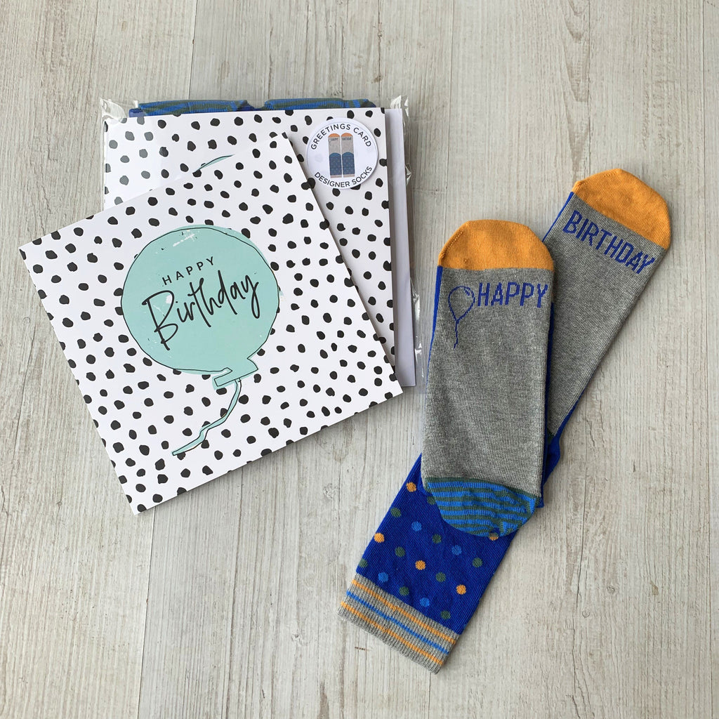 Happy Birthday Greetings Card with Men's Socks, Card Socks, - ALPHS