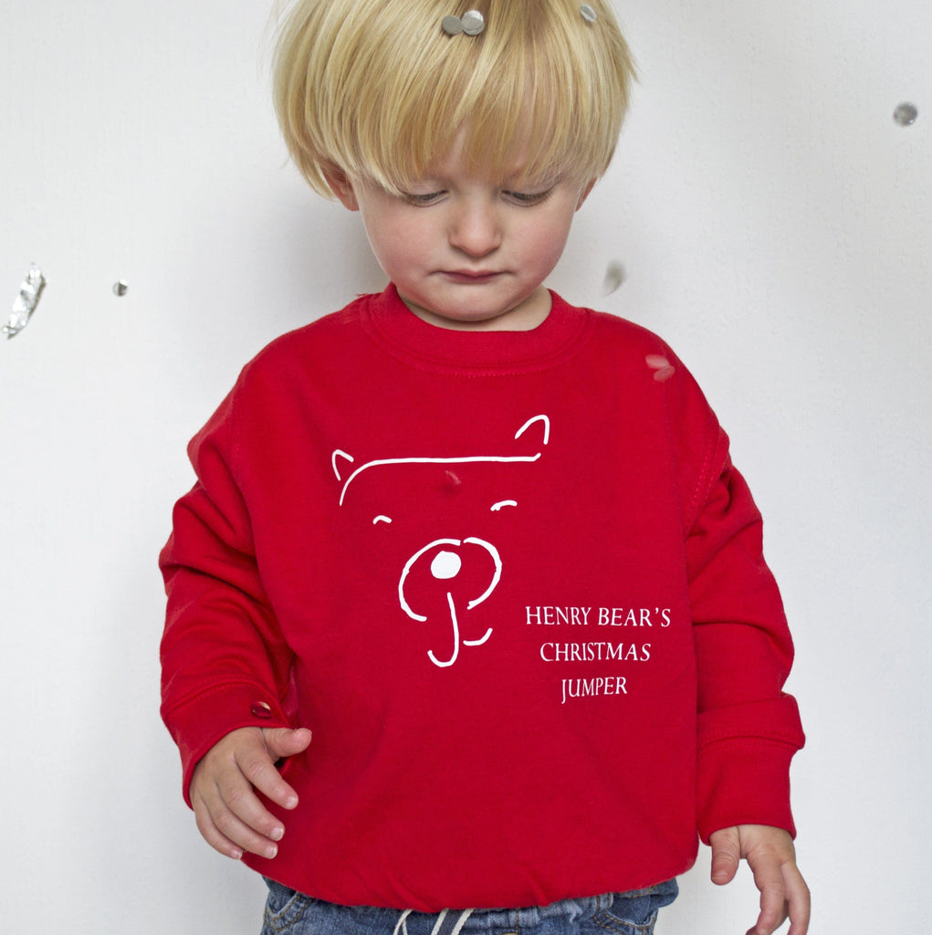 Personalised Children's Christmas Bear Jumper, Jumper, - ALPHS