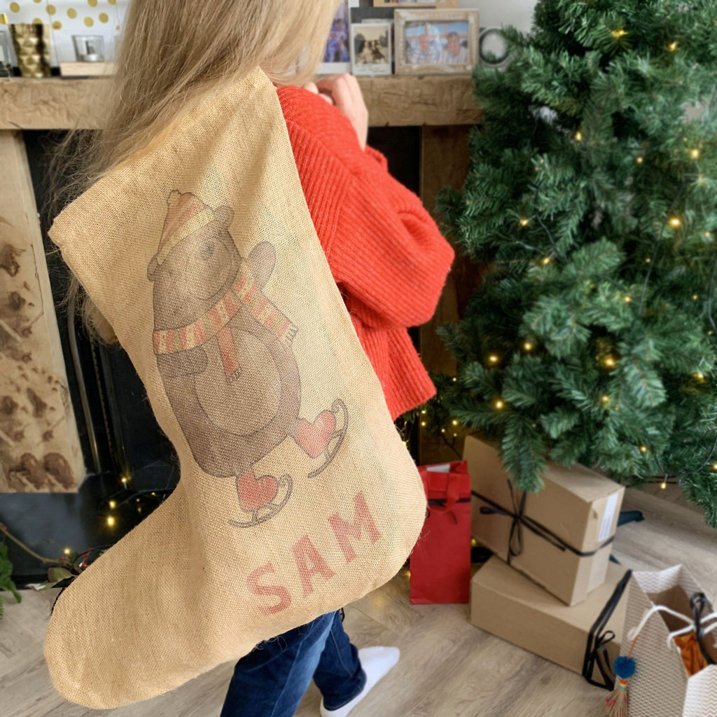 Personalised Hessian Bear Stocking