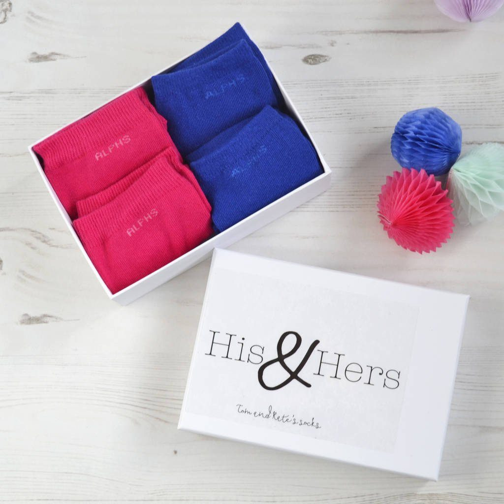 Personalised His and Hers Sock Gift Box, Socks, - ALPHS